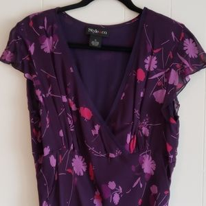 Style Co Purple Floral Lined Flutter Dress Size 12